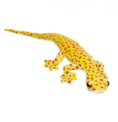 Pluche hagedis geel met rood 62 cm