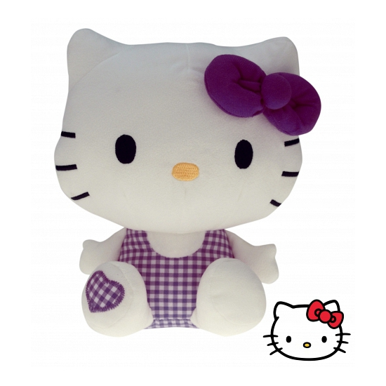 Pluche Hello Kitty knuffel paars 25 cm