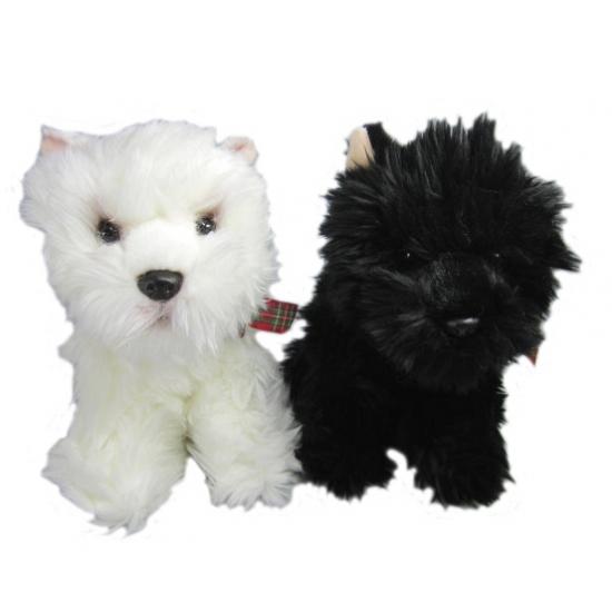 Pluche Higland Terrier wit 25 cm