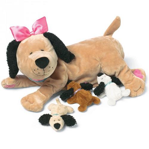 Pluche hond met puppys 25 cm
