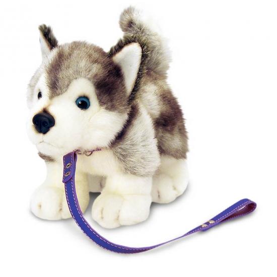 Pluche Husky hond aan lijn