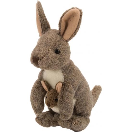 Pluche kangoeroe met baby 20 cm