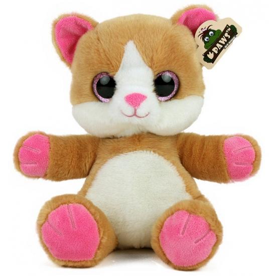 Pluche kat met glitter ogen beige wit