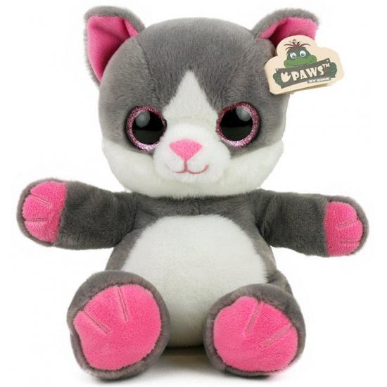 Pluche kat met glitter ogen grijs wit