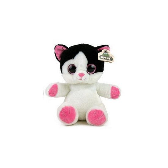 Pluche kat met glitter ogen wit zwart