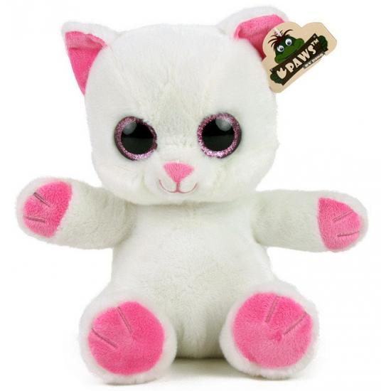 Pluche kat met glitter ogen wit
