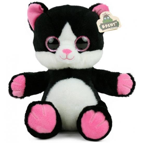 Pluche kat met glitter ogen zwart wit