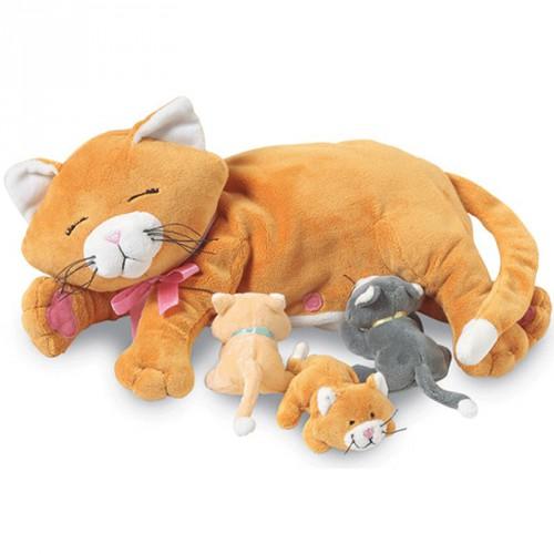 Pluche kat met kleine poesjes25 cm