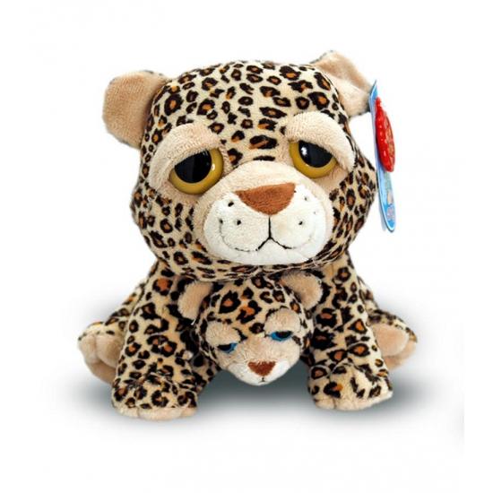 Pluche knuffel Cheetah met baby 25 cm