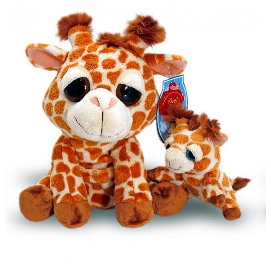Pluche knuffel giraffe met baby 25 cm
