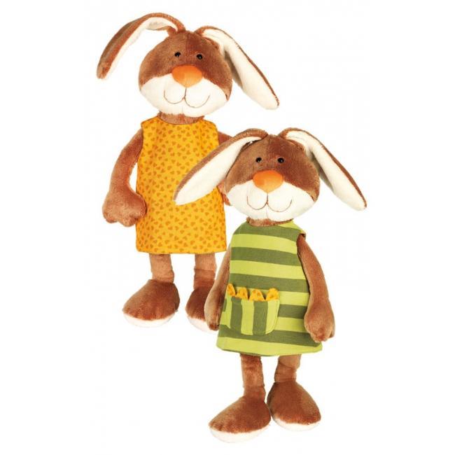 Pluche knuffel konijn met groen jurkje 40 cm