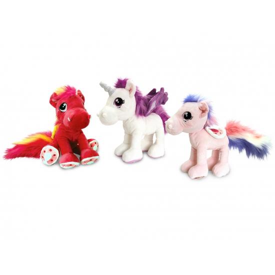 Pluche knuffel paard lichtroze 30 cm