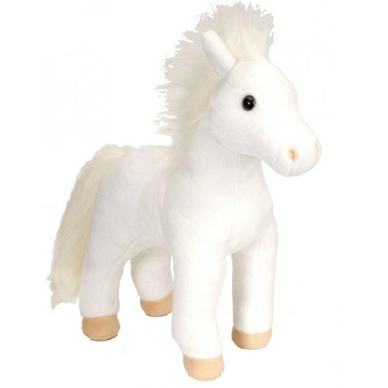 Pluche knuffel wit paard 30 cm