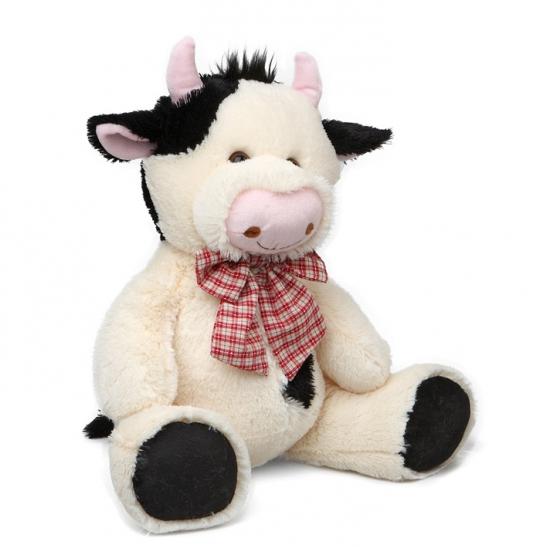 Pluche koe met strikje 30,5 cm