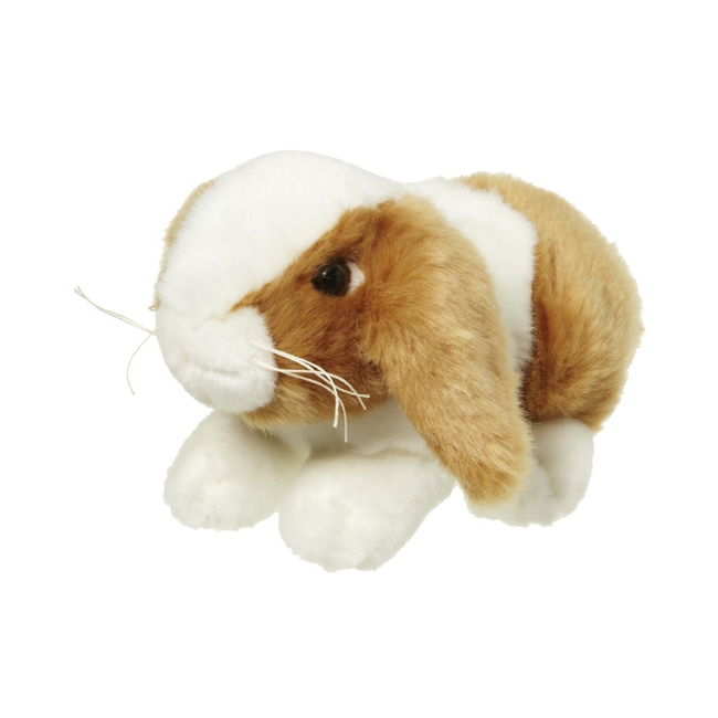 Pluche konijn bruin/wit 18 cm