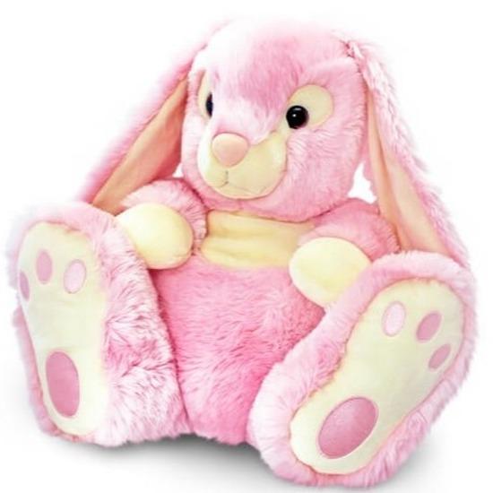 Pluche konijnen knuffel roze 25 cm