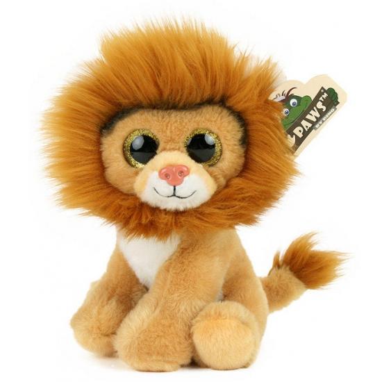 Pluche leeuw met glitter ogen 22 cm