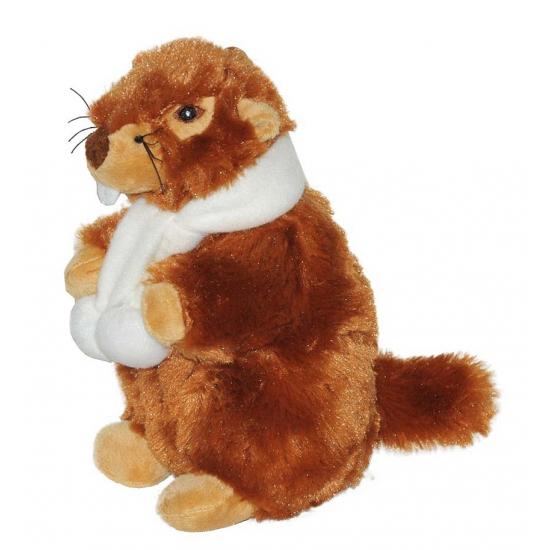 Pluche marmot met sjaal 20 cm