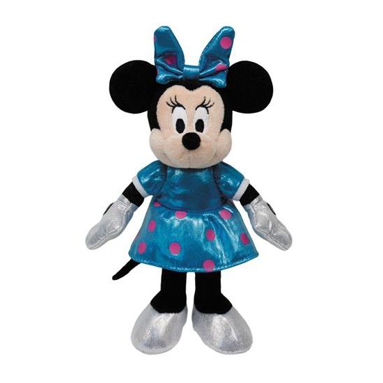 Pluche Minnie Mouse met blauw jurkje 35 cm