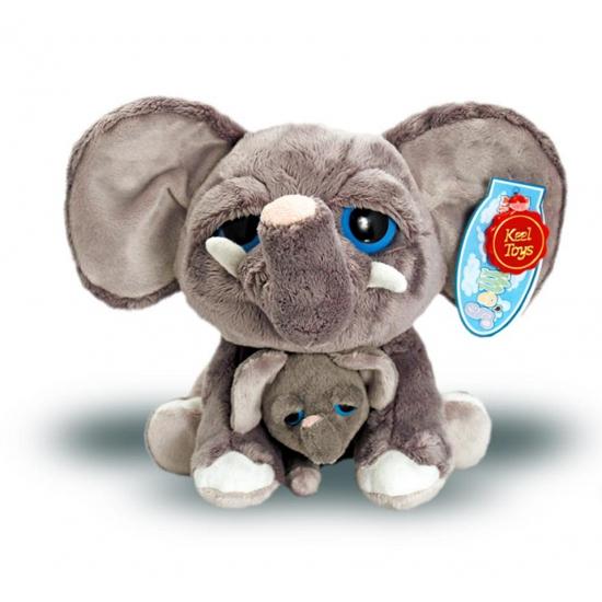 Pluche olifant met baby 25 cm