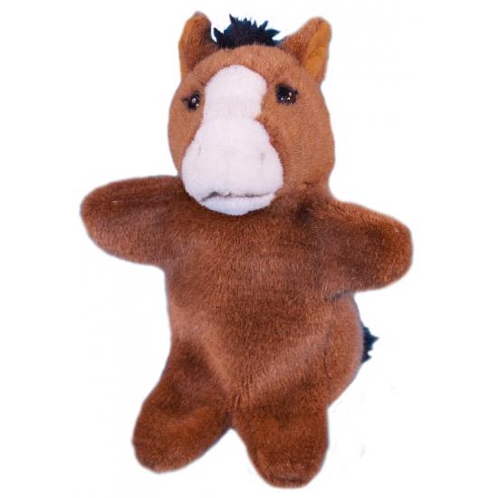 Pluche paard handpoppetje 28 cm