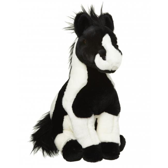 Pluche paard knuffel zwart wit 34 cm
