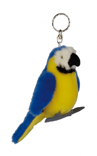 Pluche papegaaien sleutelhanger blauw