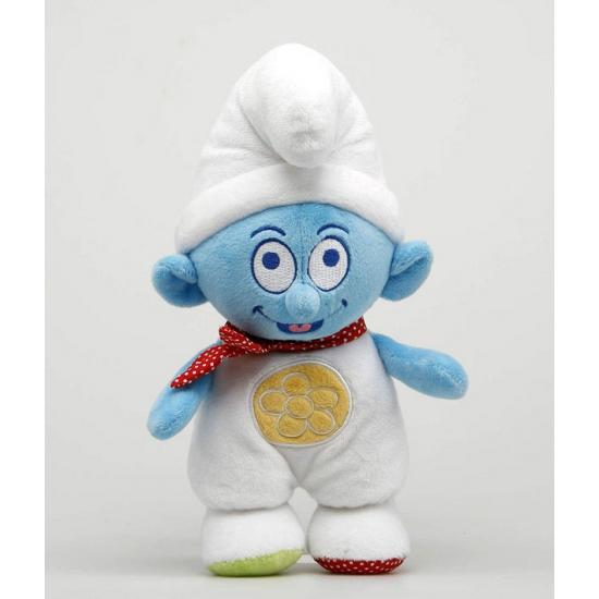 Pluche ratelaar baby Smurf