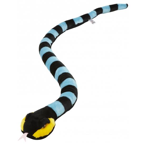 Pluche ringslang blauw en zwart 152 cm