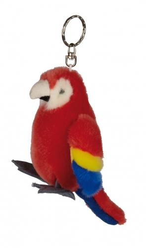 Pluche rode papegaaien sleutelhanger