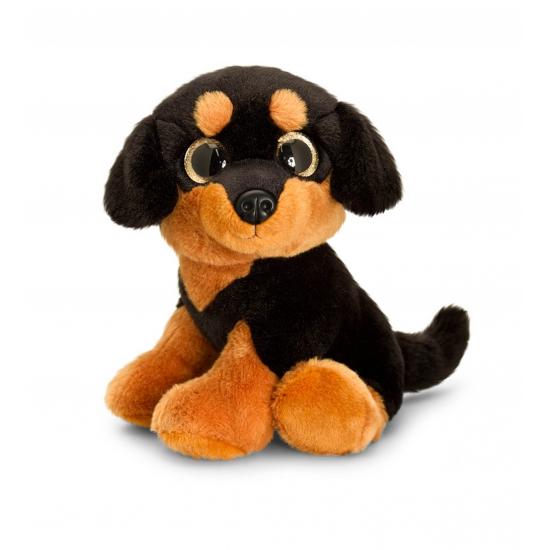 Pluche Rottweiler met sprankelende ogen 25 cm