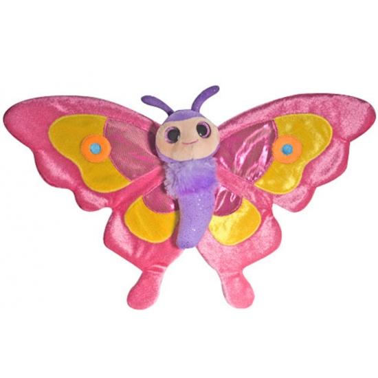 Pluche roze vlinder knuffels 38 cm