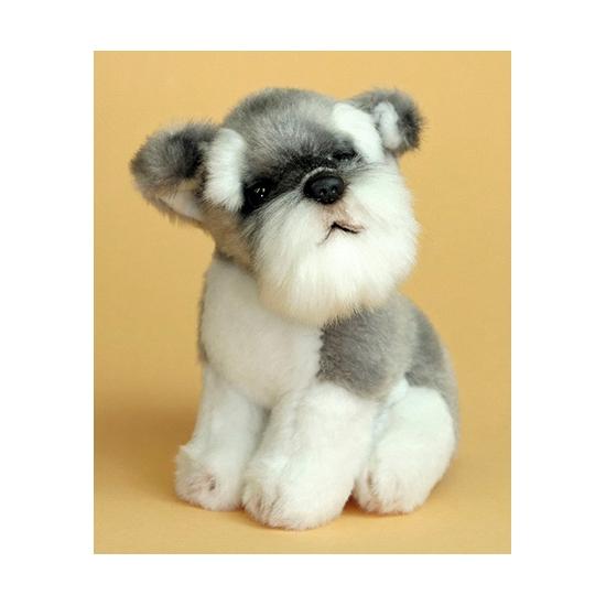 Pluche Schnauzer hond 13 cm