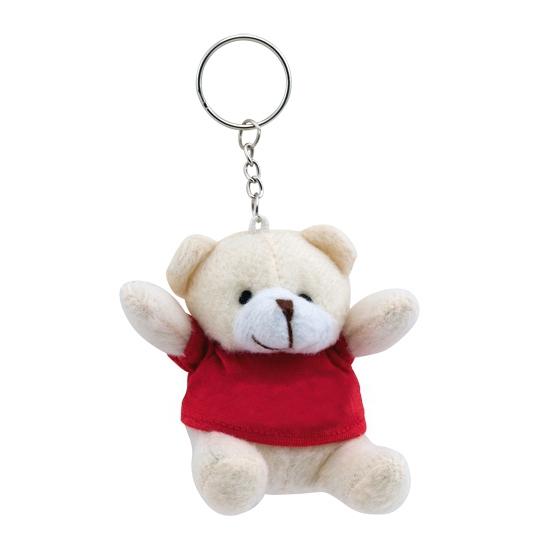 Pluche sleutelhanger teddybeer rood