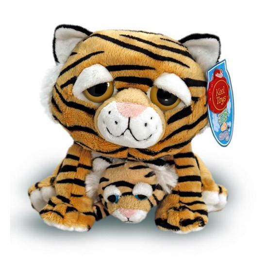 Pluche tijger met baby 25 cm