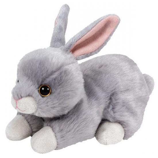 Pluche Ty Boo konijn knuffel 15 cm grijs