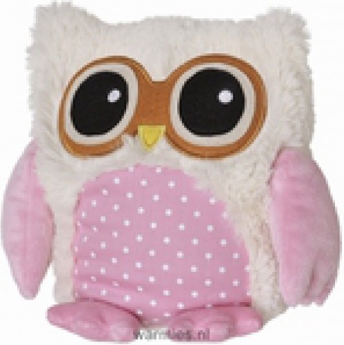 Pluche warmte knuffel roze uil