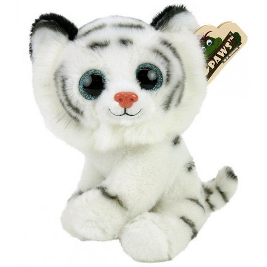 Pluche witte tijger met glitter ogen 22 cm