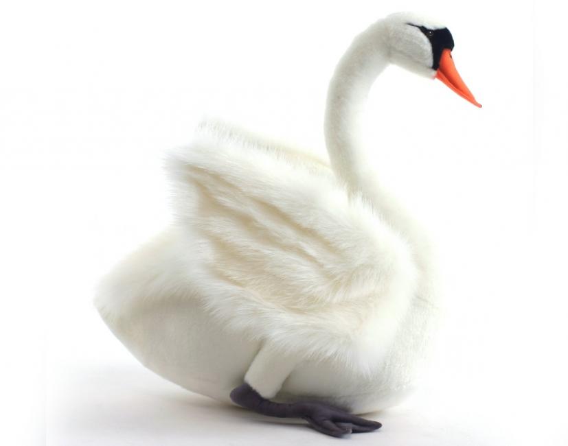 Pluche witte zwaan 29 cm