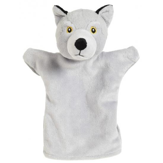 Pluche wolf handpop lichtgrijs 22 cm