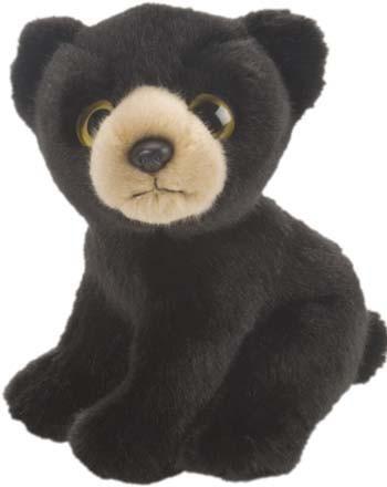 Pluche zittende zwarte beer 18 cm