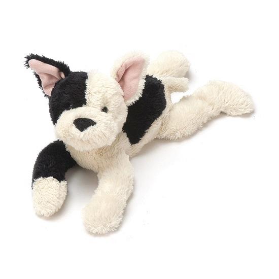 Pup knuffeldier zwart met creme 27 cm