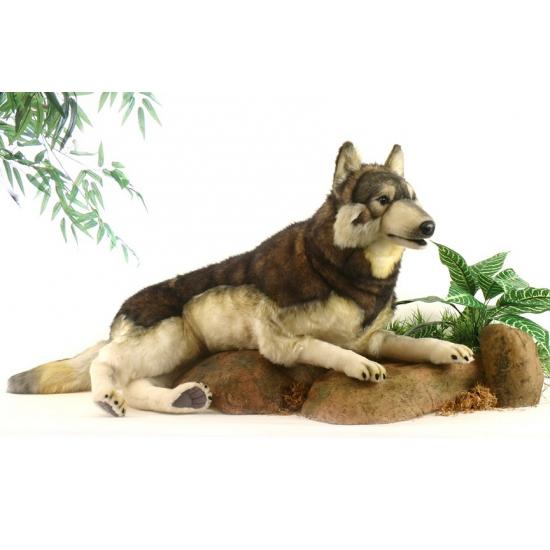Realistische liggende pluche wolf 100 cm