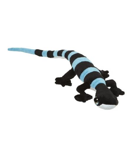 Reptielen knuffel zwart met blauwe strepen
