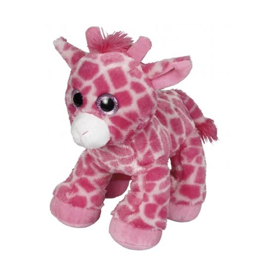 Roze giraffe knuffeldier 22 cm