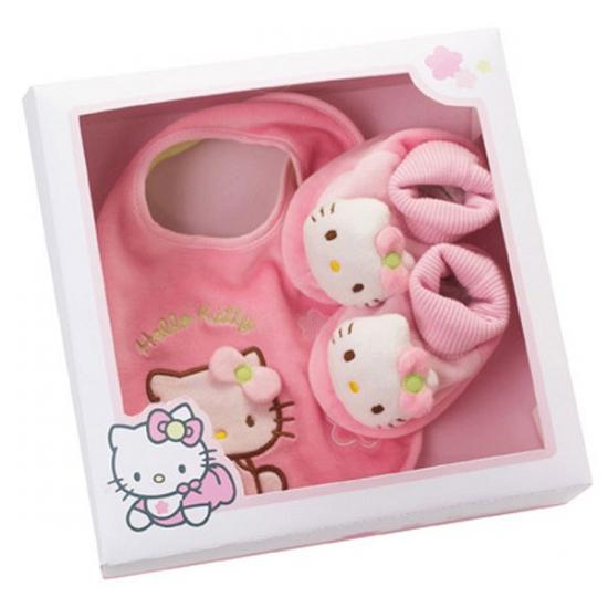 Roze Hello Kitty slofjes en slabbetje