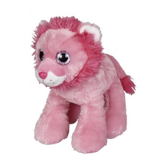 Roze leeuw knuffeldier 22 cm