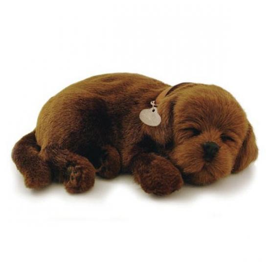 Slapende realistische knuffel Labrador bruin