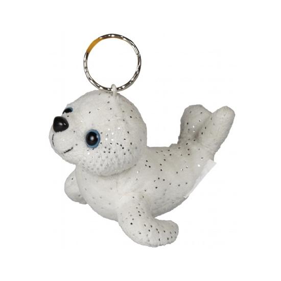 Sleutelhanger pluche glitter zeehondje