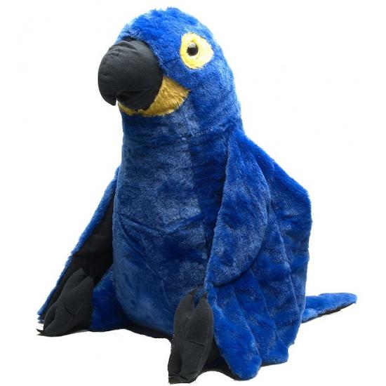 Speelgoed knuffel blauwe papegaai 76 cm